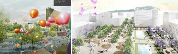 Αριστερά- business district στο Λονδίνο- Δεξιά Ομόνοια, Αθήνα